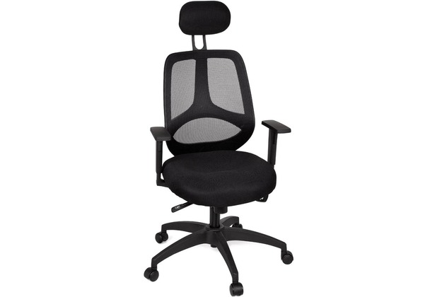 Amstyle Chefsessel Florenz Deluxe Schwarz - Bürostuhl mit 5-Stufen Synchronmechanik