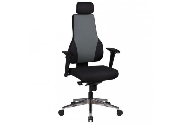 Amstyle Chefsessel Qentin schwarz/grau Stoffbezug Drehstuhl mit Kopfstütze