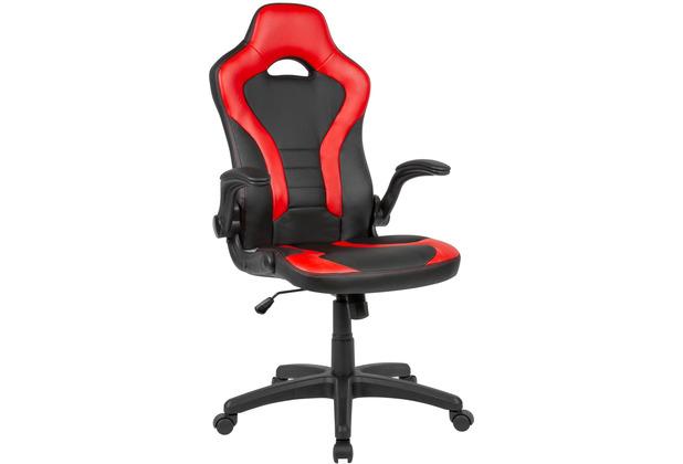 Amstyle Gaming-Drehstuhl Bezug Kunstleder Schwarz/Rot Schreibtischstuhl bis 120 kg