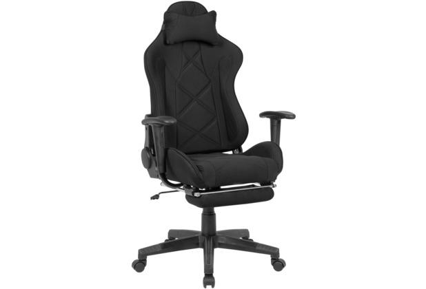 Amstyle Gaming-Schreibtischstuhl Bezug Stoff Schwarz Drehstuhl bis 120 kg, Büro-Arbeitsstuhl