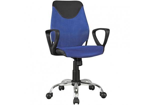 Amstyle Kinder-Schreibtischstuhl KiKa Schwarz Blau für Kinder ab 6 mit Lehne Kinder-Drehstuhl