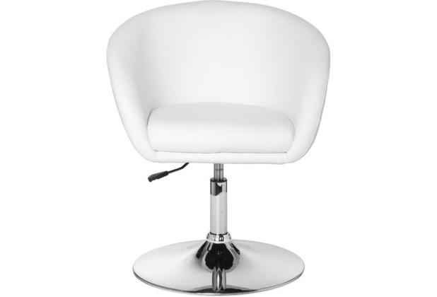 Amstyle Lift Design Drehsessel Sessel Leder Optik weiß
