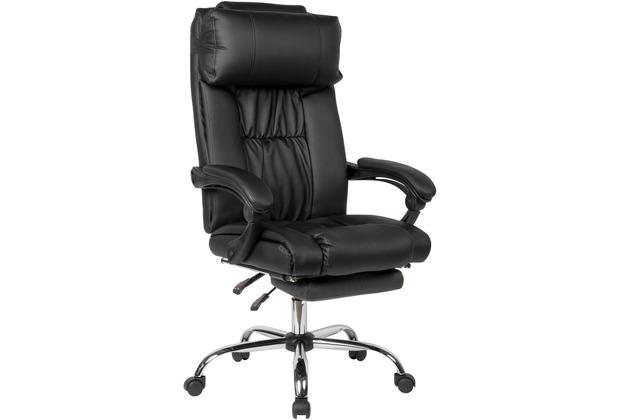 Amstyle Schreibtischstuhl Bezug Kunstleder Schwarz Arbeitsstuhl bis 120kg mit ausziehbarer Fußstütze schwarz