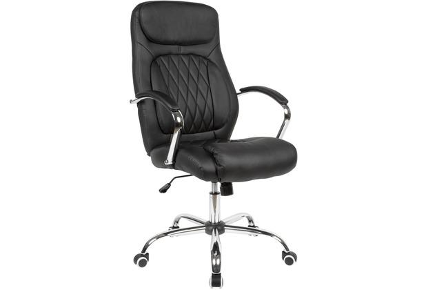 Amstyle Schreibtischstuhl Bezug Kunstleder Schwarz Bürodrehstuhl bis 120 kg, Höhenverstellbar schwarz