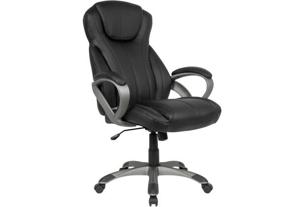 Amstyle Schreibtischstuhl Bezug Kunstleder Schwarz Bürodrehstuhl bis 120 kg Design Drehstuhl, ganzes Polster