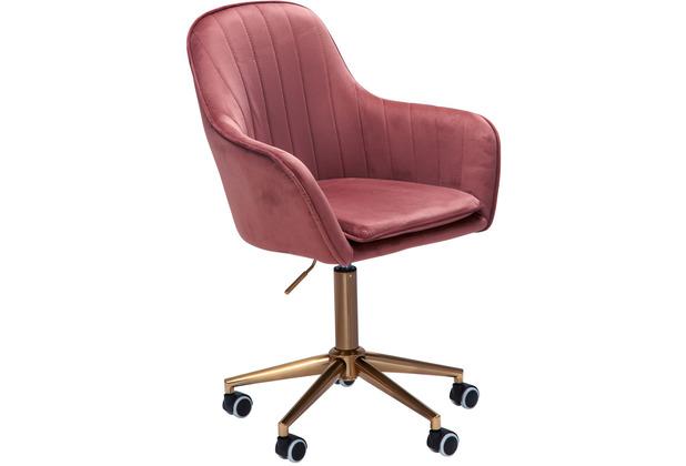 Amstyle Schreibtischstuhl Samt Rosa, Design Drehstuhl mit Lehne, Arbeitsstuhl 120 kg Höhenverstellbar, Schalenstuhl mit Rollen, Stuhl Drehbar
