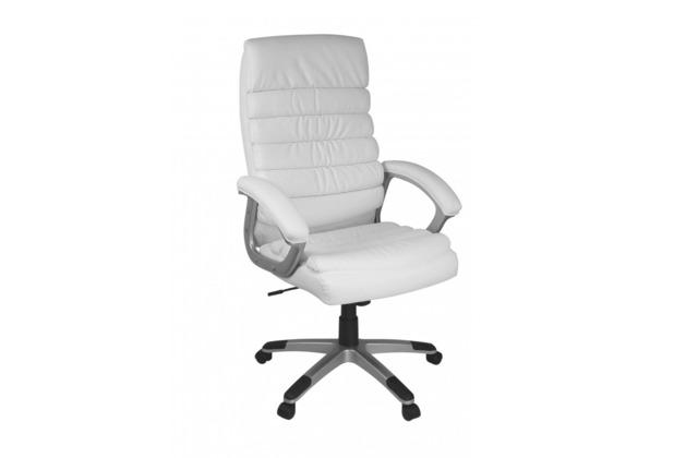 Amstyle Valencia Design Chefsessel, Bürostuhl Leder Optik Weiß
