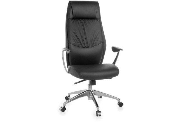 Amstyle XXL Chefsessel OXFORD 1 Echtleder Schwarz Bürostuhl 3-Punkt Synchronmechanik Drehstuhl 120kg