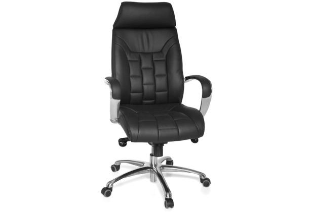 Amstyle XXL Chefsessel Turin Echtleder schwarz, 5-Punkt Multiblock-Mechanik, Bürostuhl bis 120kg