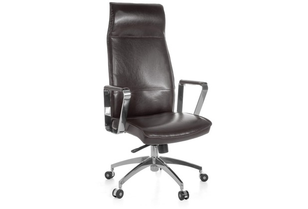 Amstyle XXL Chefsessel Verona Echtleder Braun, Bürostuhl mit 5-Stufen Synchronmechanik (120kg)