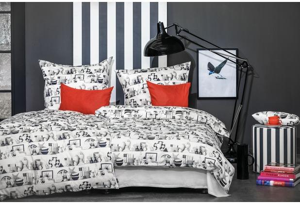 APELT Bettwäsche Viktor weiß/schwarz 135x200+80x80 cm