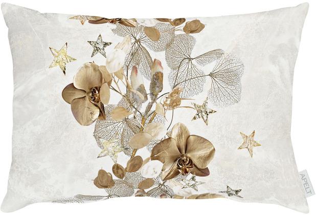 APELT Christmas Elegance Kissen Blüten, Sternen und Zweigen natur / gold 35x50 cm