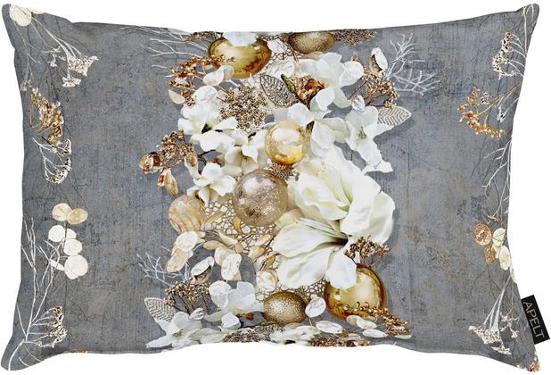 APELT Christmas Elegance Kissen Blüten, Weihnachtsschmuck und Zweigen anthrazit / gold 35x50 cm