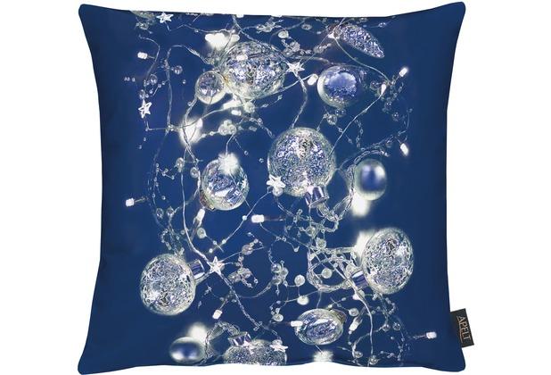 APELT Christmas Elegance Kissen dunkelblau/ silber 45x45