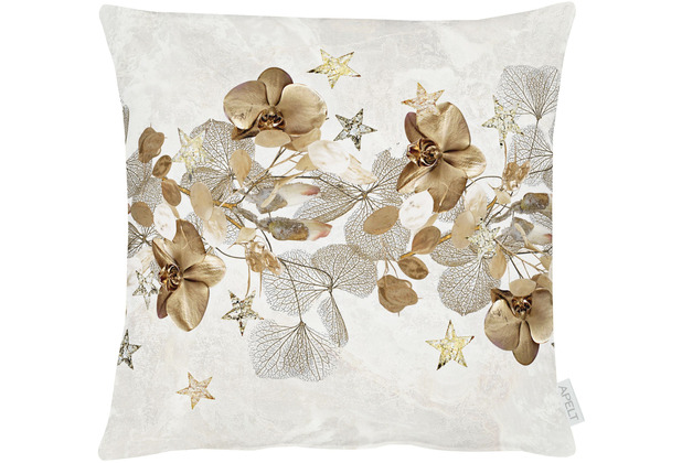 APELT Christmas Elegance Kissenhülle Blüten, Sternen und Zweigen natur / gold 49x49 cm