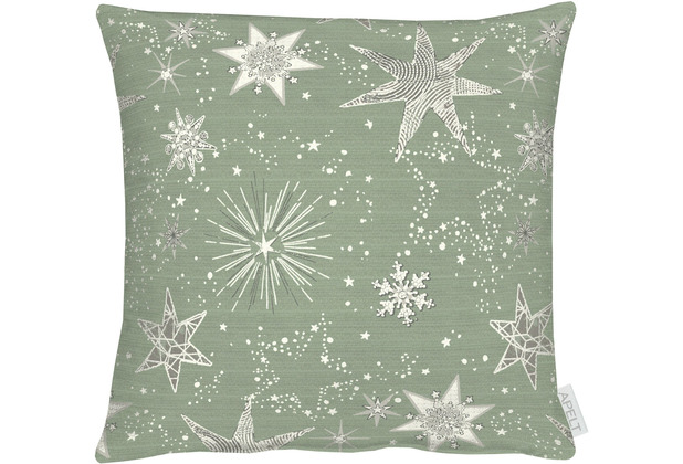 APELT Christmas Elegance Kissenhülle Sternenmotiv als all-over grün / gold 40x40 cm