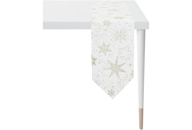 APELT Christmas Elegance Tischband Sternenmotiv als all-over natur / gold 24x175 cm
