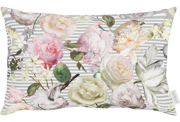 APELT Coloured Nights Kissenbezug grau / rose 40x80 cm, Blumen
