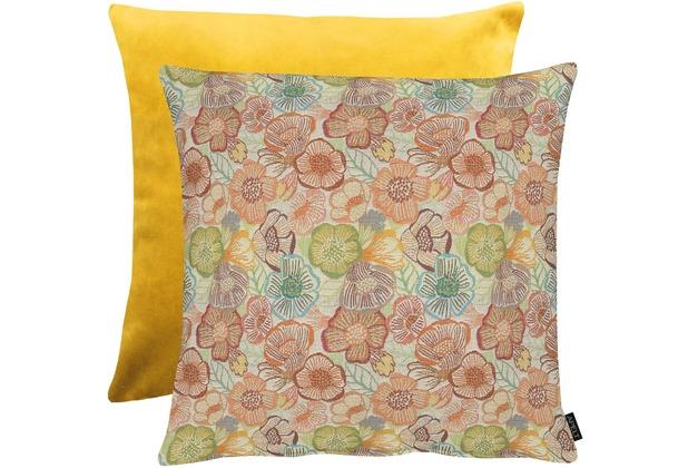 APELT Easy Living Kissen Vorderseite: multi/orange/natur - Rückseite: Uni gelb 65x65 cm