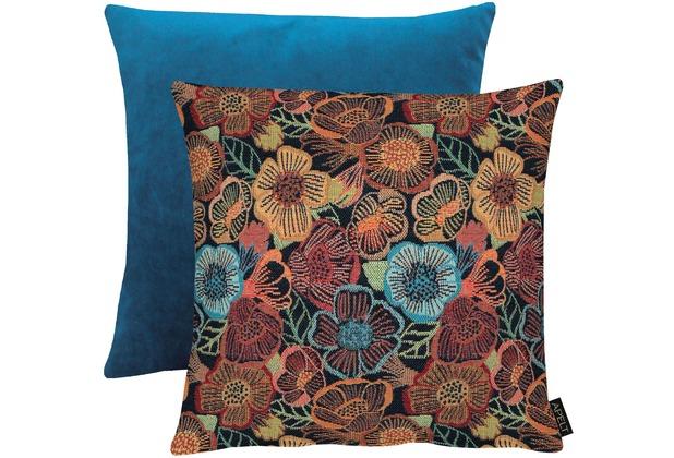 APELT Easy Living Kissenhülle Vorderseite: Blumen multi/blau - Rückseite: Uni dunkelblau 46x46 cm