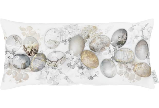 APELT Happy Easter Kissen weiß/natur/grau 22x45 cm