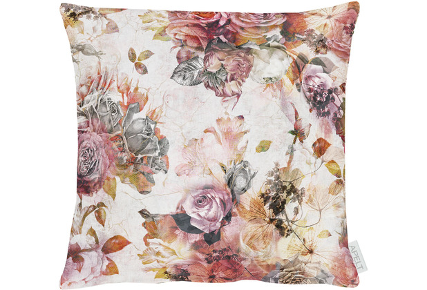 APELT Herbstzeit Kissen Rosen- und Herbstblumen-Motiv rot / rose / natur / grau 39x39 cm