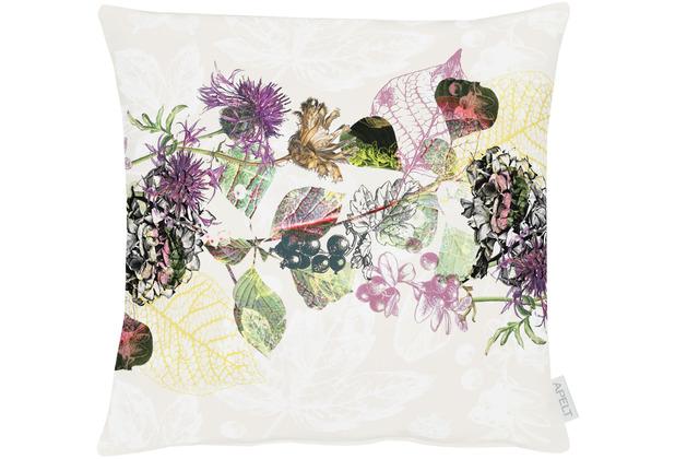 APELT Herbstzeit Kissenhülle modern gestaltetes Blütenallover natur / lila / aubergine 49x49 cm