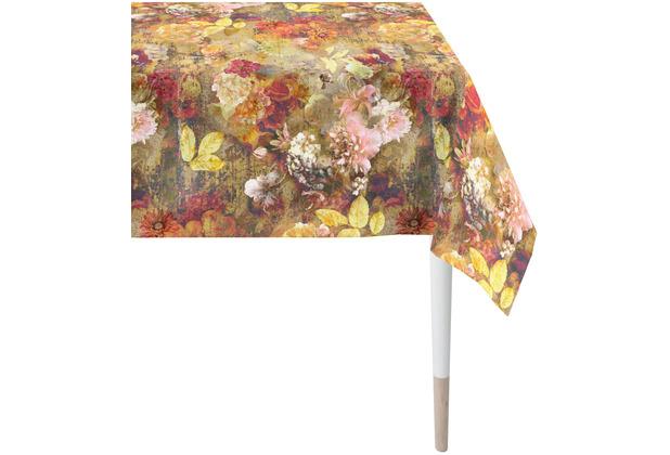 APELT Herbstzeit Tischdecke gemalte Auqarell-Blütenalover orange / terra / grün / multi 100x100 cm