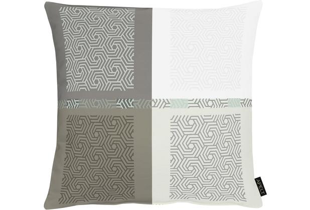 APELT Loft Style Kissen all-over Karo- Grafikmusterung anthrazit / weiß 48x48 cm
