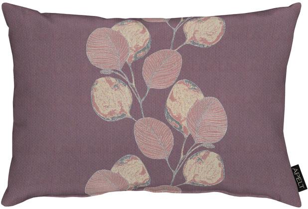 APELT Loft Style Kissen kunstvoll ausgearbeitete Blätter aubergine / lila 35x50 cm