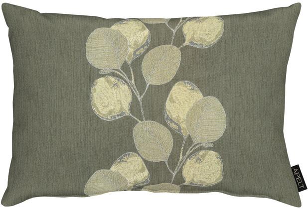 APELT Loft Style Kissen kunstvoll ausgearbeitete Blätter grau / natur / silberfarben 35x50 cm