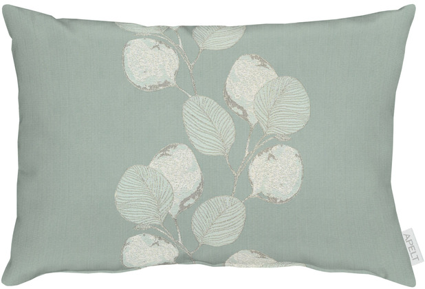 APELT Loft Style Kissen kunstvoll ausgearbeitete Blätter türkis / natur 35x50 cm