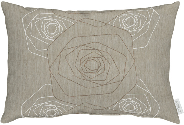 APELT Loft Style Kissen taupe, Rosenmuster 35x50 cm