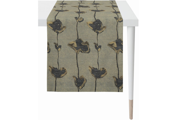 APELT Loft Style Läufer Blütenmotiv anthrazit / beige 44x140 cm