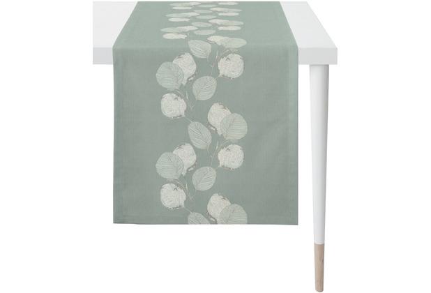 APELT Loft Style Läufer kunstvoll ausgearbeitete Blätter türkis / natur 48x140 cm