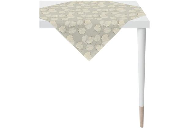 APELT Loft Style Tischdecke kunstvoll ausgearbeitete Blätter stein / beige / natur 90x90 cm