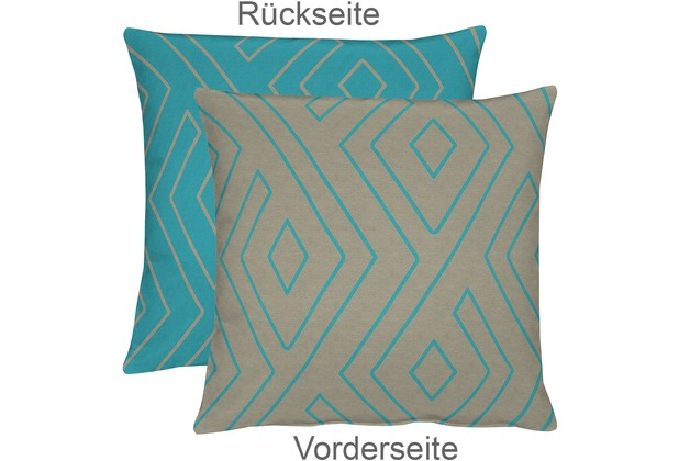 APELT Mistral Easy elegance Kissenhülle beige-blau 46 cm x 46 cm