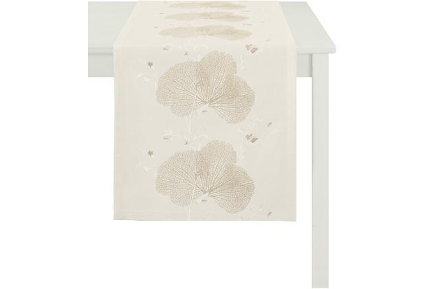 APELT Tischläufer Loft Style, beige 48 cm x 140 cm, Pflanzenmuster