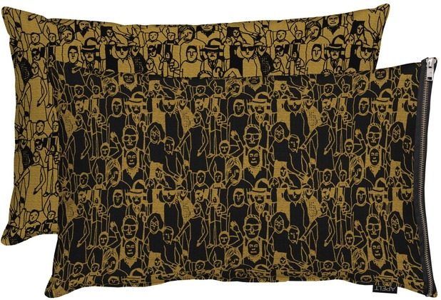 APELT Unique Kissen schwarz/kupfer 45x60 cm