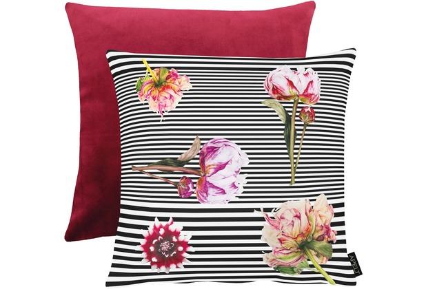 APELT Unique Kissen Vorderseite: schwarz/weiß/pink / Rückseite: bordeaux Samt Uni 45x45 cm