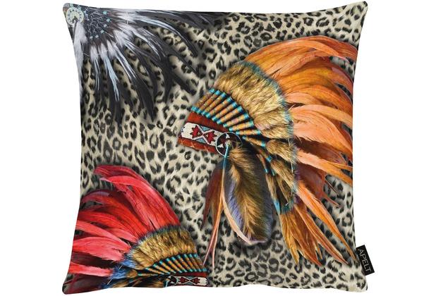 APELT UNIQUE Kissenhülle indianerkopfschmuck auf Leo multi 46x46 cm