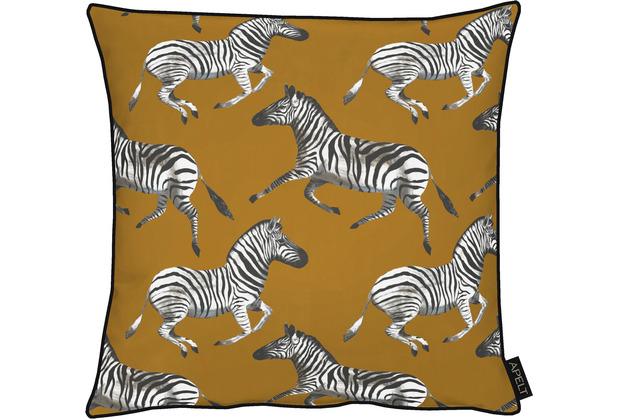 APELT UNIQUE Kissenhülle kunstvoll gestaltete Zebras braun / schwarz / weiß 46x46 cm