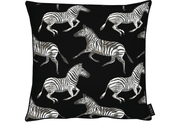 APELT UNIQUE Kissenhülle kunstvoll gestaltete Zebras schwarz / weiß 46x46 cm