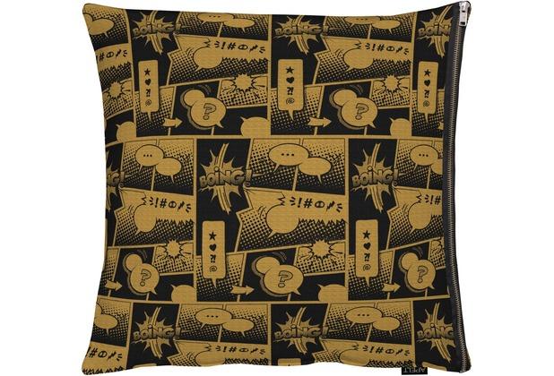 APELT Unique Kissenhülle kupfer / schwarz 66x66 cm