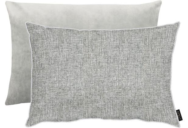 APELT Unique Kissenhülle Vorderseite: grau/silber - Rückseite: Uni grau 41x61 cm