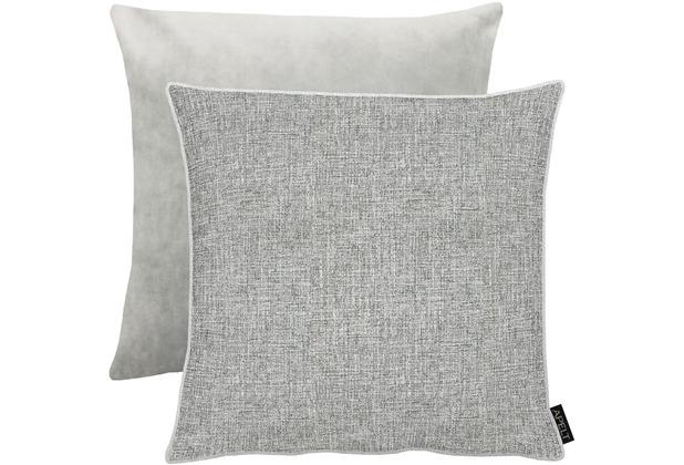 APELT Unique Kissenhülle Vorderseite: grau/silber - Rückseite: Uni grau 46x46 cm