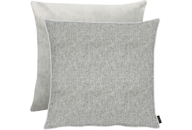 APELT Unique Kissenhülle Vorderseite: grau/silber - Rückseite: Uni grau 66x66 cm