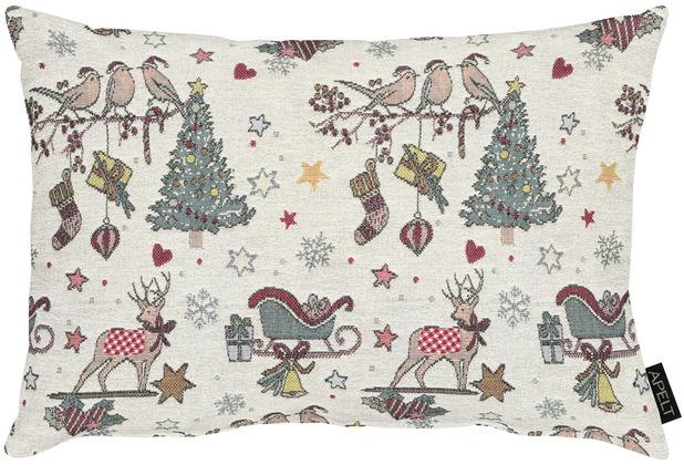 APELT Winterwelt Kissen Weihnachtsmotiv im angesagten Skandi-Style natur / rot 30x40 cm