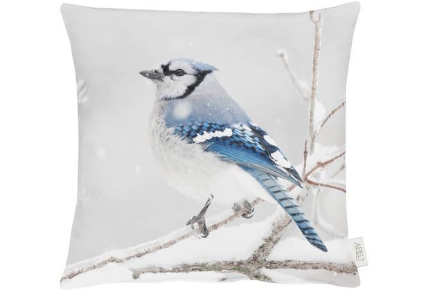 APELT Winterwelt Kissenhülle blau/hellgrau/silber 46x46