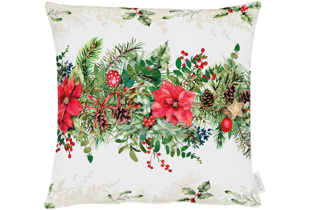 APELT Winterwelt Kissenhülle Weihnachtsgirlandenmotiv natur / rot / grün 49x49 cm